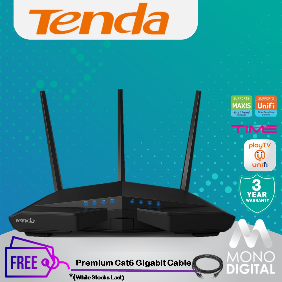 Tenda AC18 AC1900 Smart Dual-Band Gigabit Wifiless Router UniFi Maxis Time  Fiber FREE Premium Cable
