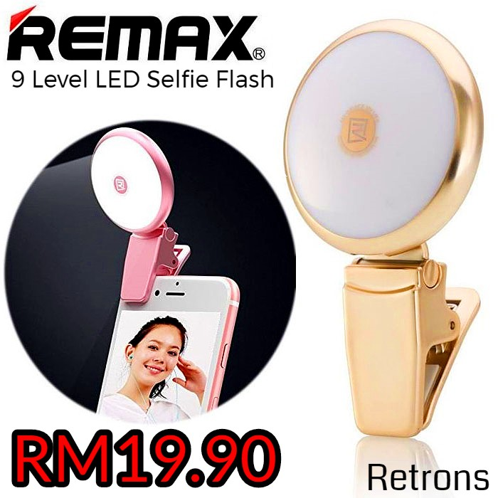[Sealed] Genuine Remax Clip on LED Selfie Flash Light with 9 levels of brightness for enhancing your selfie [ Clerance ]