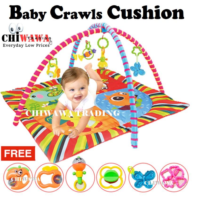【Free: 1 x Toy Set】Baby Kids Play Gym Mat Crawling Game Playmats Rug Bed