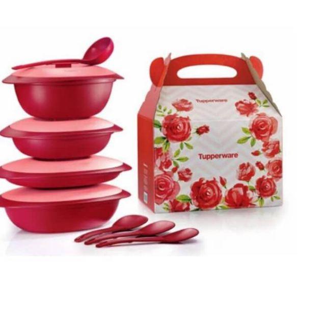 Royal red serving set Tupperware