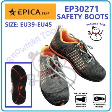 SAFETY BOOTS EPICA STAR BRAND EP30271 ORANGE BLACK COLOR BOOTS ANTI-SLIP BOOTS STEEL SHOES  KASUT BESI ANTI MINYAK JARUM
