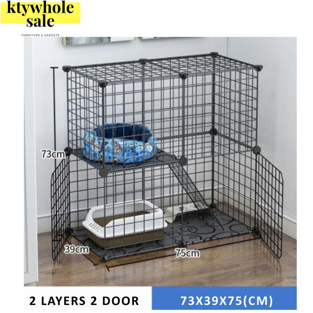 KTY (LARGE PLATFORM)Cat Cage 1 Level Cat Cage 2 Level Sangkar Kucing 1 Tingkat 2 Tingkat Pet Playpen, Small Animal Cage