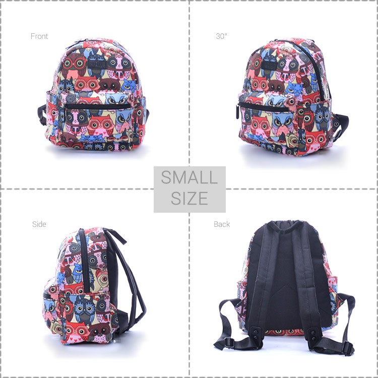 137b6b1d1576 MC470 RE3 Girl Woman Colorful Owl Printing Quality Canvas Daily Backpack