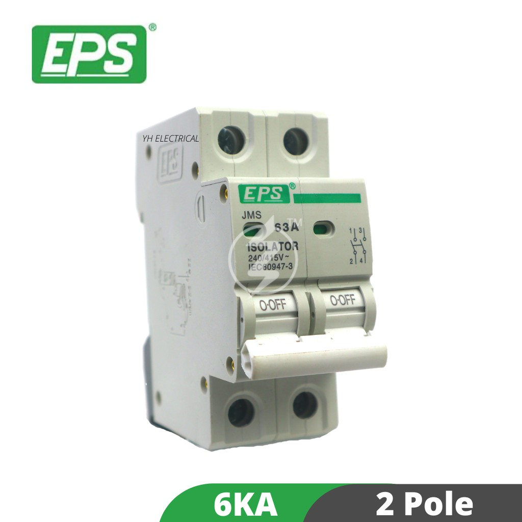 EPS 2 POLE 32A/63A ISOLATOR / MAIN SWITCH CIRCUIT BREAKER (READY STOCK) 2P