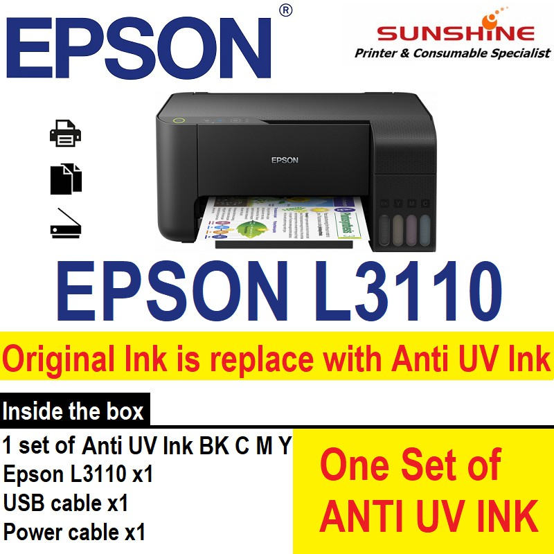 EPSON L3110 3 IN 1 ECOTANK PRINTER No original ink, come with anti UV ink