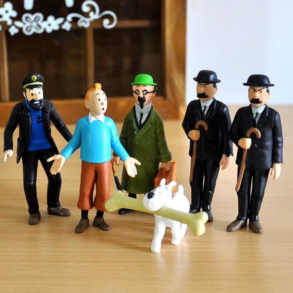 6pc FIGURINE Les Aventures de Tintin Milou Capitaine Haddock Action Figure FR
