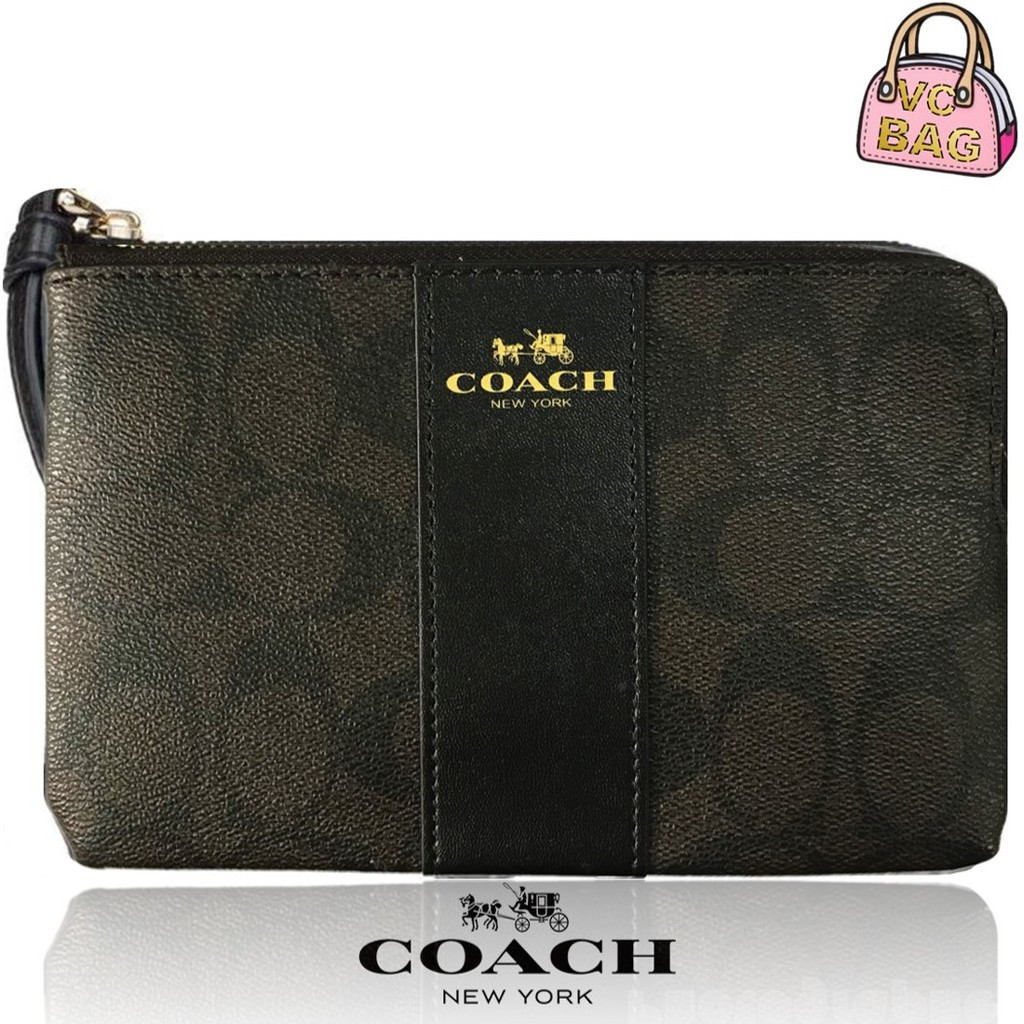 quality design 0c3ac 73f86 COACH F54629 Corner Zip Wristlet in Signature Coated Canvas with Leather  Stripe