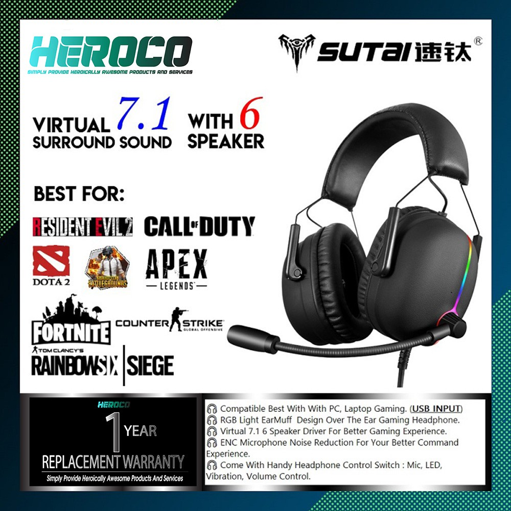 Sutai V11 RGB Over The Ear Gaming Headphone 7 1 Virtual Surround ENC  Microphone Gaming Headset