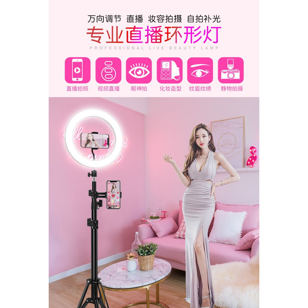 Selfie Ring Light with Tripod Stand and Phone Holder LED Circle Lights Halo Lighting for Make Up Live Steaming Photo