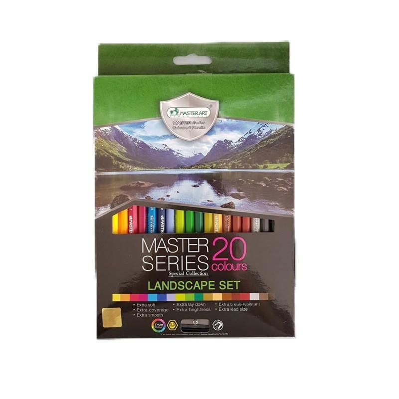 【Master Art】Master Series Landscape Colour Pencil 20 Pcs Set + Free Sharpener