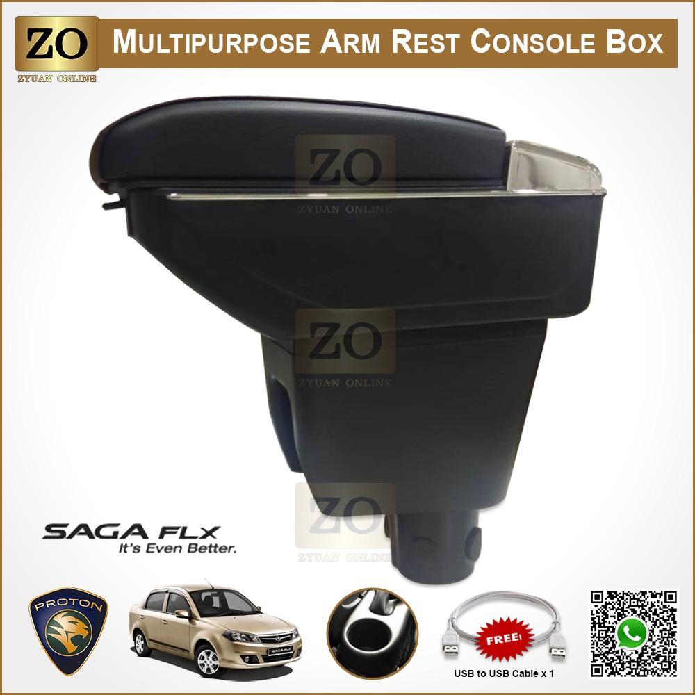📣READY STOCK📣 Proton Saga BLM / FL / FLX Armrest 7 USB Port 2008~2015, Adjustable Double Layer Arm Rest Console Box