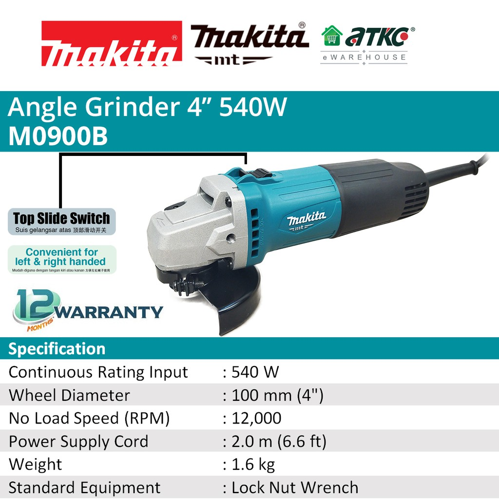 """MAKITA M0900B Angle Grinder 4"""" 540W Without Handle"""