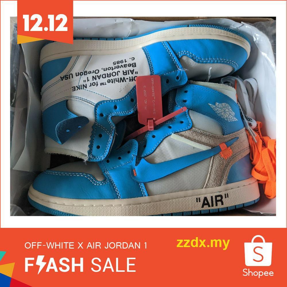 Eliminación Fuera Privilegiado  Authentic Off-White x Nike Air Jordan 1 AJ1 High Men and women White/Blue |  Shopee Malaysia