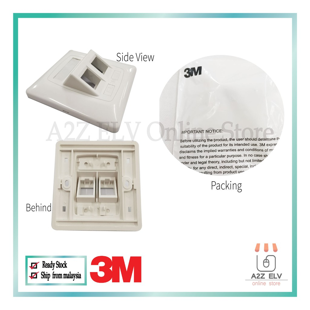 3M Volition EXP 2 Port Angled Faceplate 120Ream (87 x 87mm)