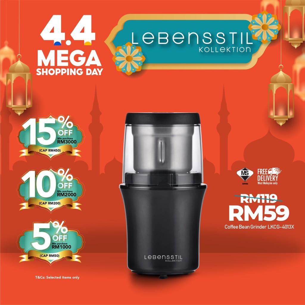 Lebensstil Electric Turbo Coffee Grinder|Coffee Bean Blender |Stainless Steel Blade & Bowl, One-Touch Control LKCG-4013X