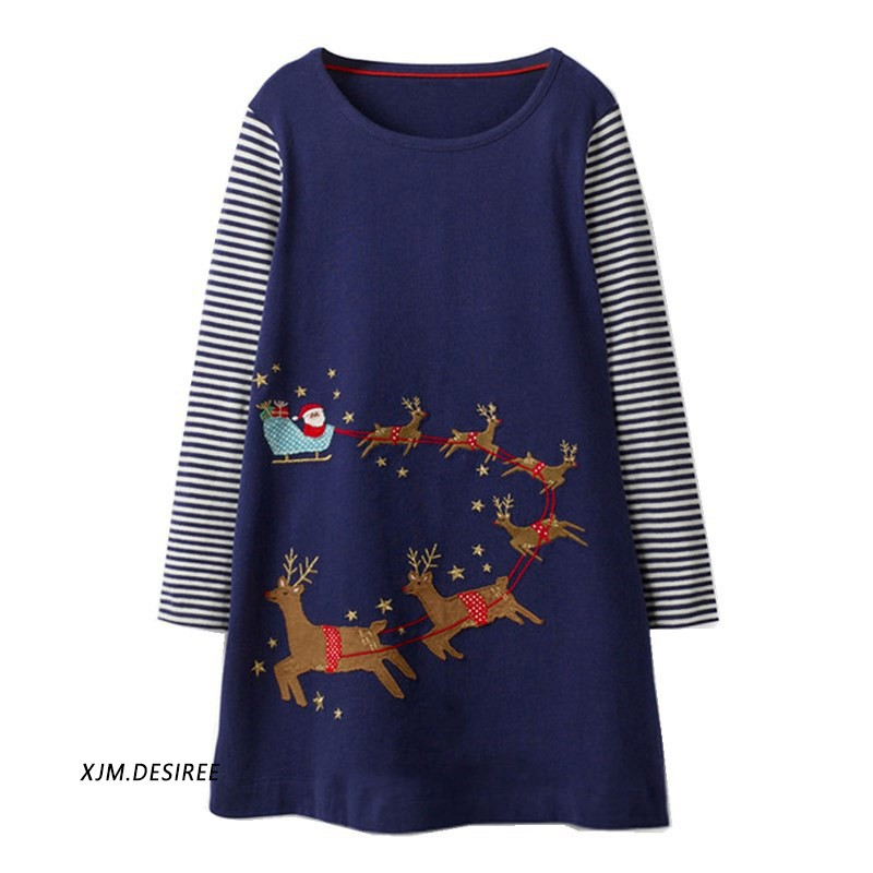 e89b0ea9aed97 Girls Elk Stripe Christmas Dress Basic Simple Dress