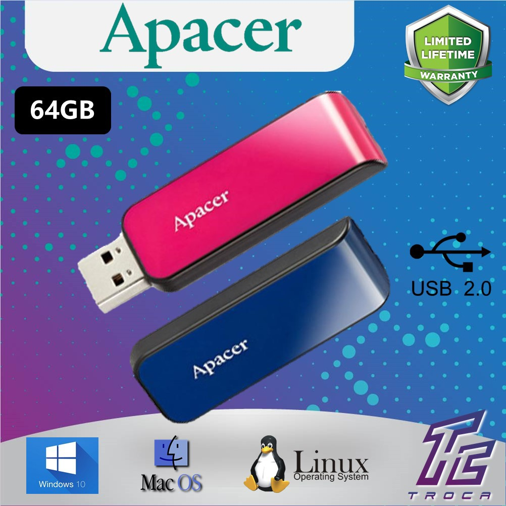 Apacer 16GB / 32GB / 64GB AH334 USB 2 0 Flash Drive / Pendrive / Thumbdrive  (Blue/Pink)