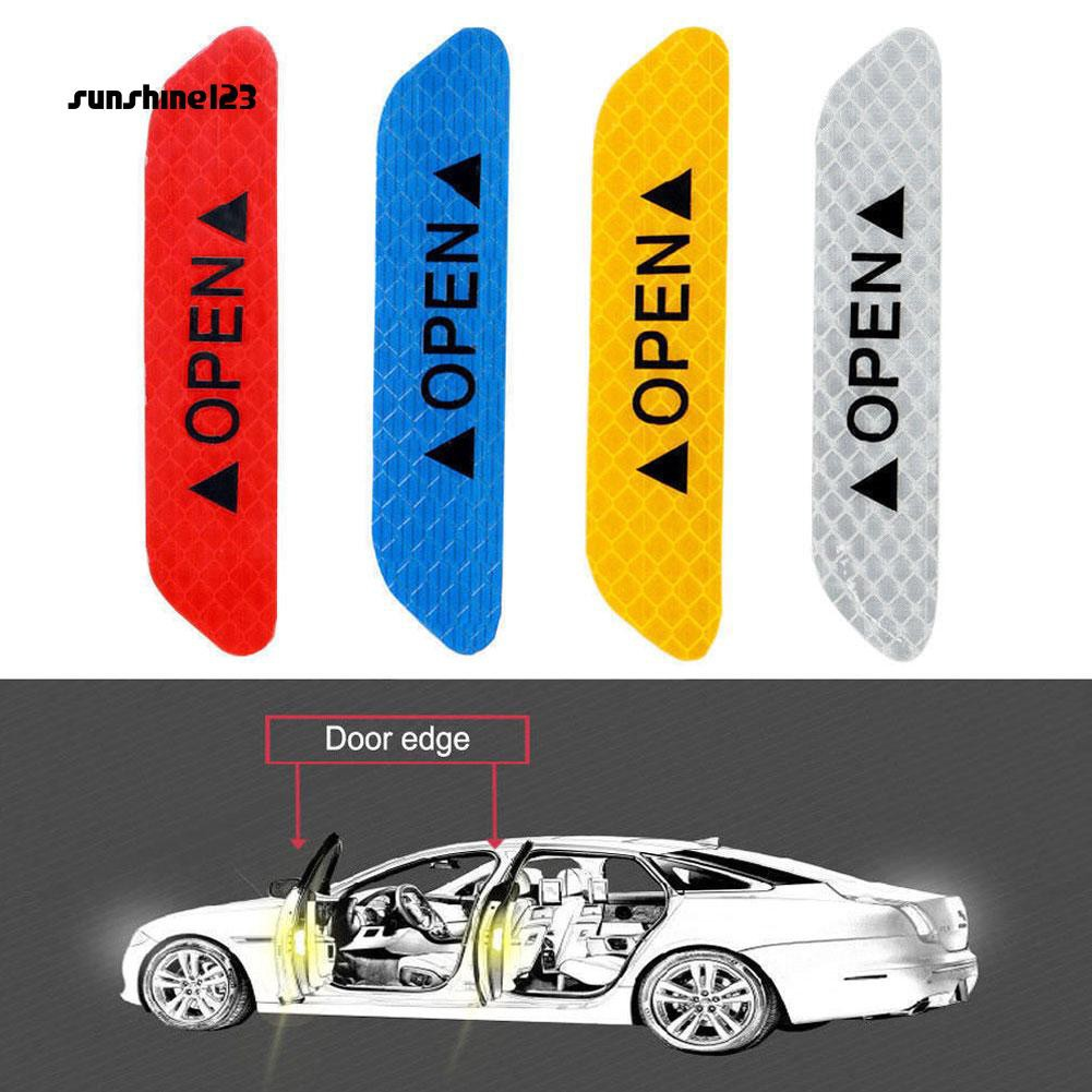 2 X Decal Alarm Sign Car Reflective Strips Warning Tape Safety Mark Door Sticker