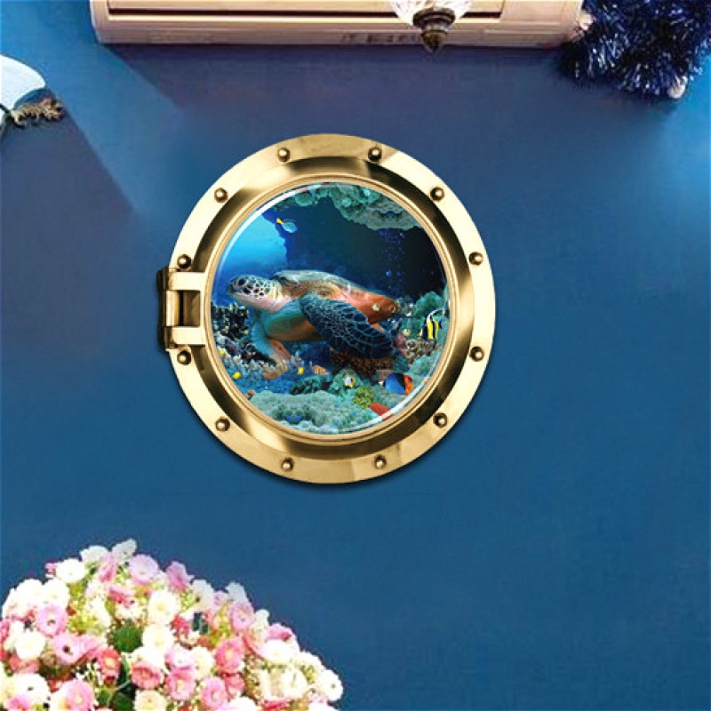 3D Special Effects Window Submarine Turtle Home Decoration Wall Stickers