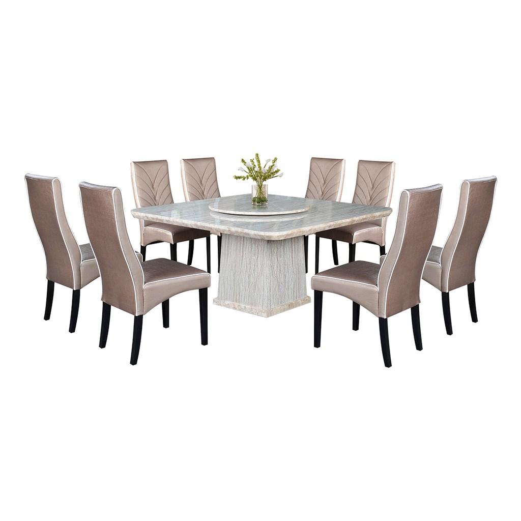 Nl Mtt14e 1022 5 Luxury Design Square Marble Dining Table Set 1 8 Shopee Malaysia