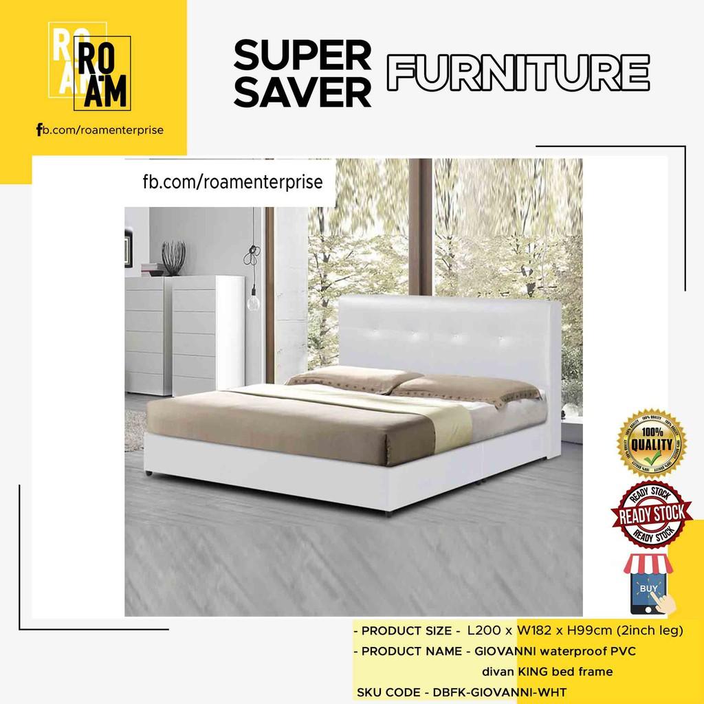DIVAN waterproof PVC divan queen/king bed frame-White 8005 (PVC MATERIAL)
