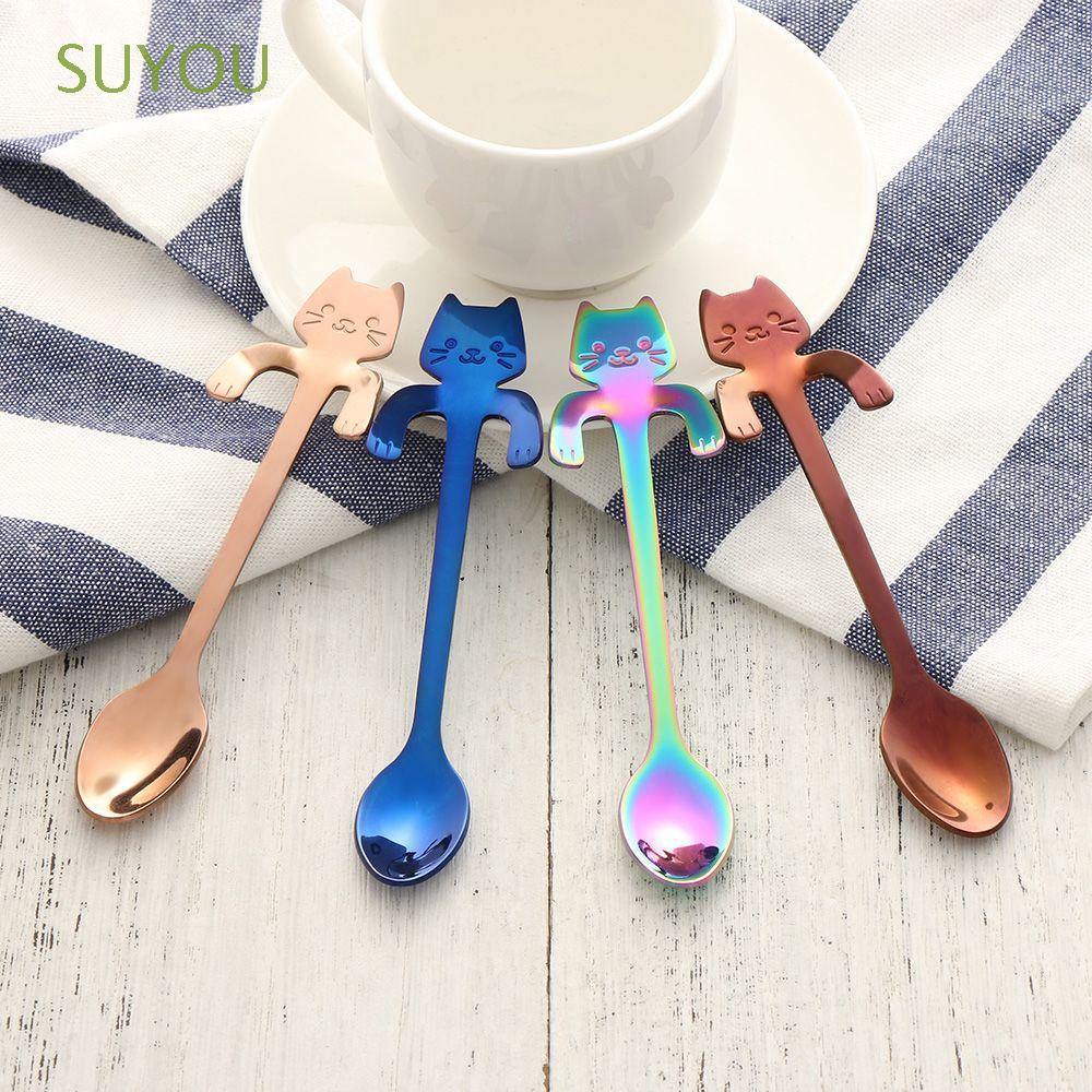1/2pcs Kitchen Gadgets Cooking Tools Dinnerware Hanging Flatware Cute Cat Spoon | Shopee Malaysia