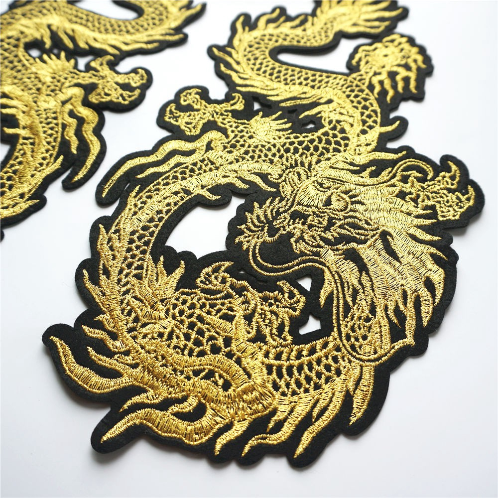 Sew On Badge for T Shirts Bags Crafts Iron On Embroidered Chinese Dragon Patch
