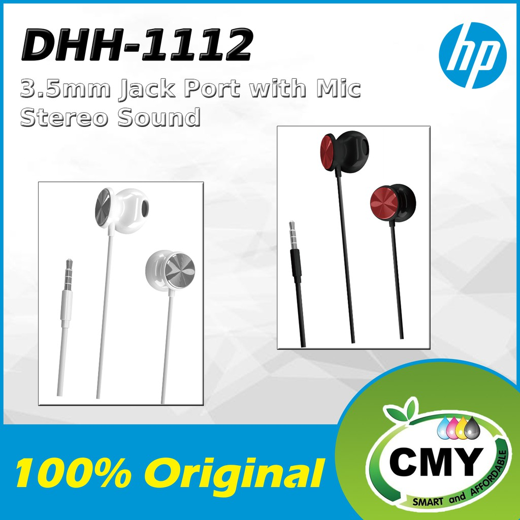 HP DHE-1112 IN-EAR HEADSET WITH MIC 3.5MM AUDIO JACK GREAT SOUND QUALITY AND COMFORTABLE WEARING