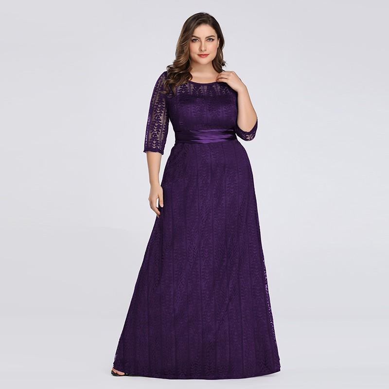 Ever Pretty Elegant Long Mother of the Bride Dresses Cheap Grey Lace Maxi  Dress Plus Size Mother Dresses 8878