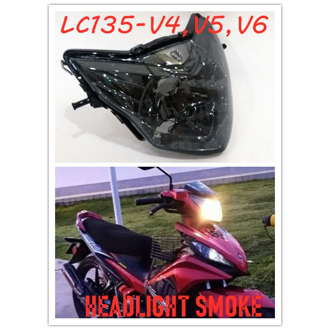 HIGH QUALITY YAMAHA LC135-V4,V5,V6 135LC-NEW LC135ES FRONT HANDLE BAR UPPER COVER HEAD LAMP HEAD LIGHT SMOKE / TINTED