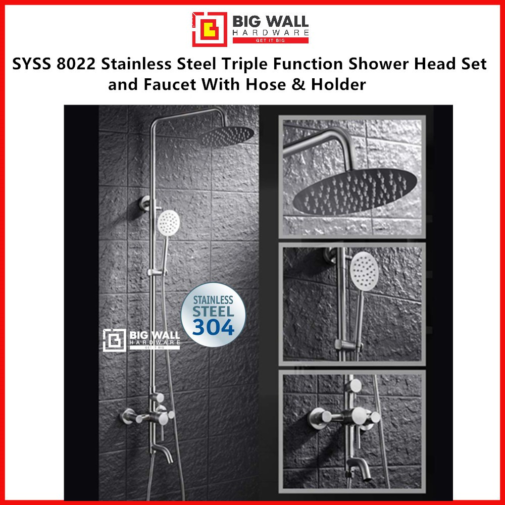 SYSS 8022 SUS 304 Stainless Steel Triple Function Shower Head Set and Faucet With Hose & Holder, High Pre