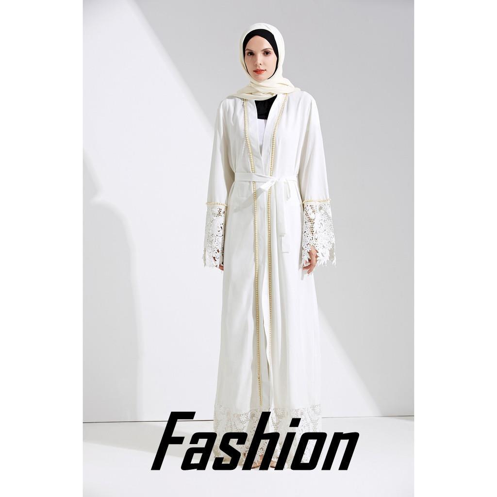 【Ready Stock】2019 Farland Dubai Abaya Muslim Solid Rob*e Knitting Dress  Kaftan Abaya Muslim D