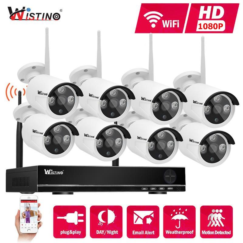 Wistino 8CH Wifi NVR Kits Outdoor HD 1080P IP Camera Kit IR Night Vision  Surveillance CCTV Security System 2 0MP KIT