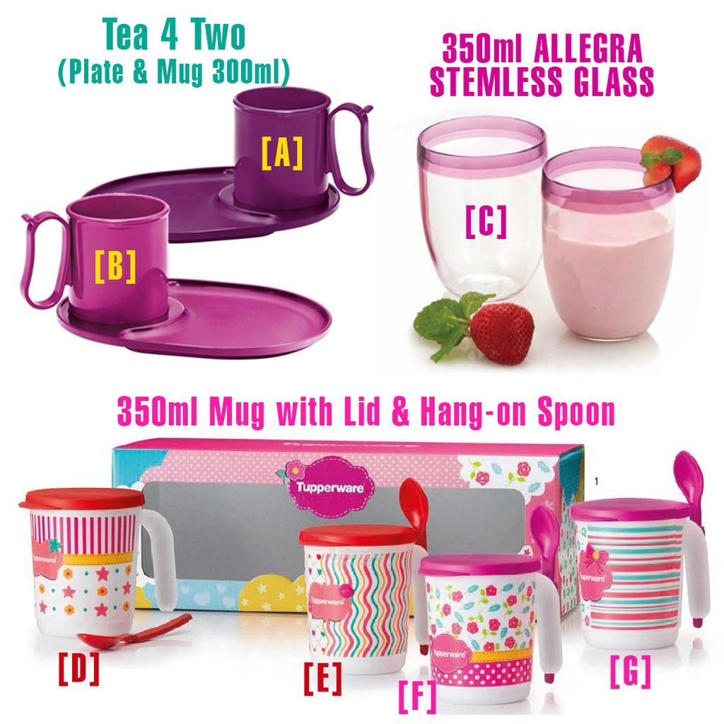Tupperware Blushing Pink Mug 350ml / Liberty Mug 350ml / Allegra Stemless Glass 350ml - 1pc
