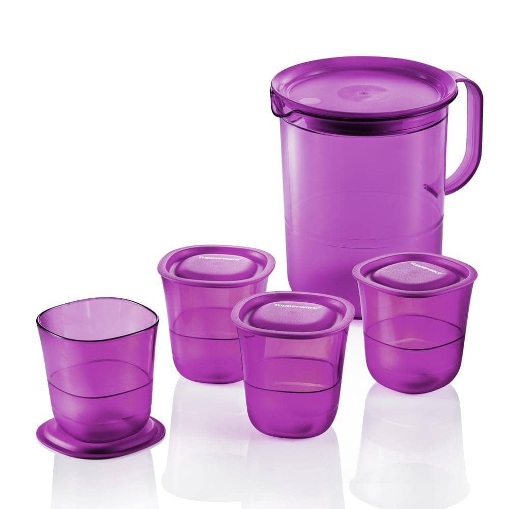 New Tupperware Purple Royale Crystalline Pitcher 1.2L / Short Glass 230ml / Serving Tray