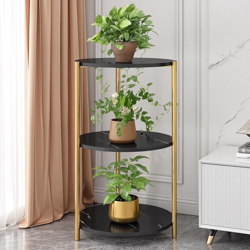 GDeal Three Layers Marble Design Inner Living Room Deco Rack Balcony Flower Pot Shelf