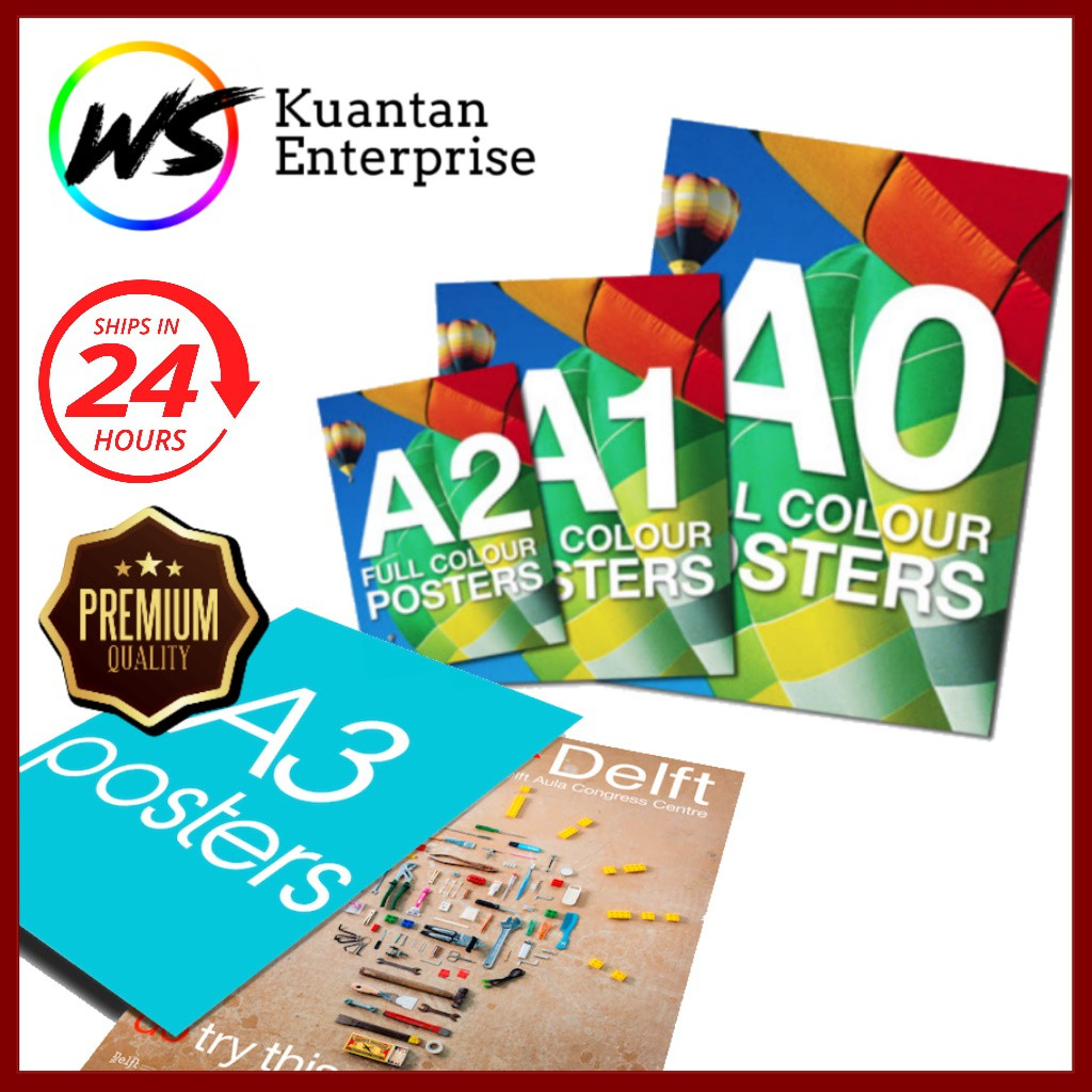【100% Fast Printing】A0 to A3 Poster Printing/Presentation Poster Printing (Matt Synthetic Paper 200gsm)
