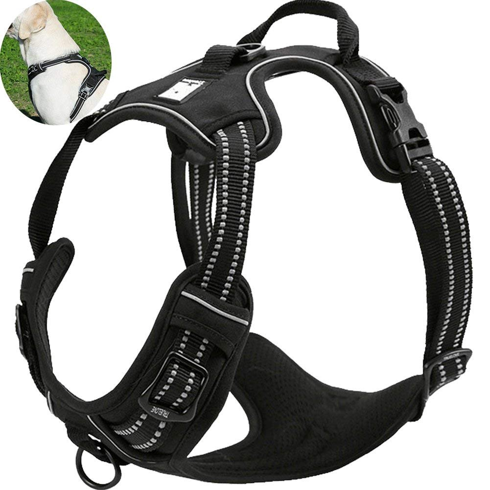 Black Dog Walking Harness Outdoor Adventure 3M Reflective Pet Vest with  Handle