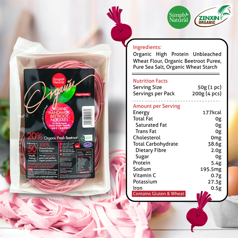 Simply Natural : Zenxin Organic BeetRoot Flavour Noodle | 4 serving with 200g | 100% Organic | Natural Puree Ingredient