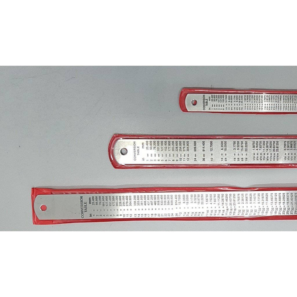 "Stainless Steel Ruler With Conversion Table / Metal Ruler / Pembaris Besi 15cm / 30cm /45cm / 60cm 6''/ 12'' / 18"" /24"""