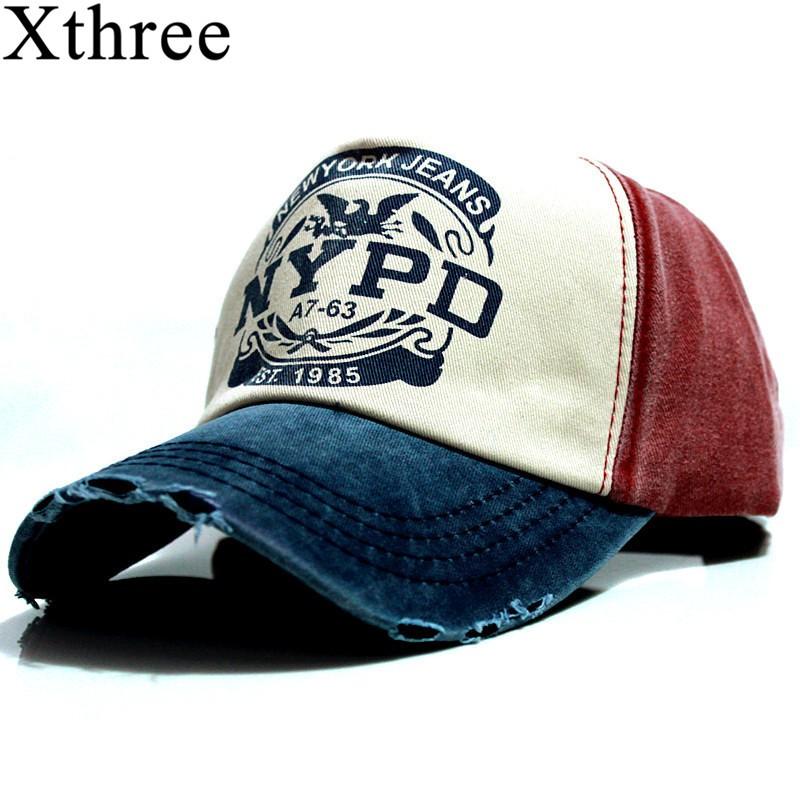 a570a1132b5 Xthree Brand Cap Baseball Cap Fitted Hat Casual Cap Gorras 5 Panel Men  Women Snapback Hats Wash Cap
