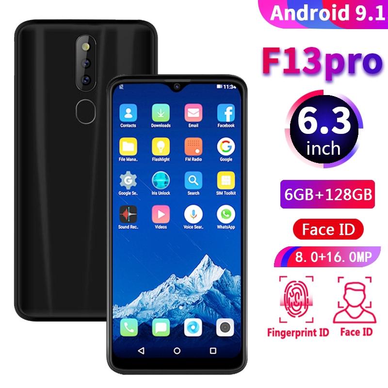 F13 PRO Smartphone Octa Core Triple Cameras 6+128GB ROM Waterdrop Screen Handphone Android +freegift