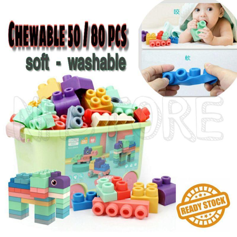 50 pcs or 80pcs Chewable Educational Learning Squeeze Soft Lego Set / Lego Set Getah Selamat Untuk Kanak Budak² <NHSTORE