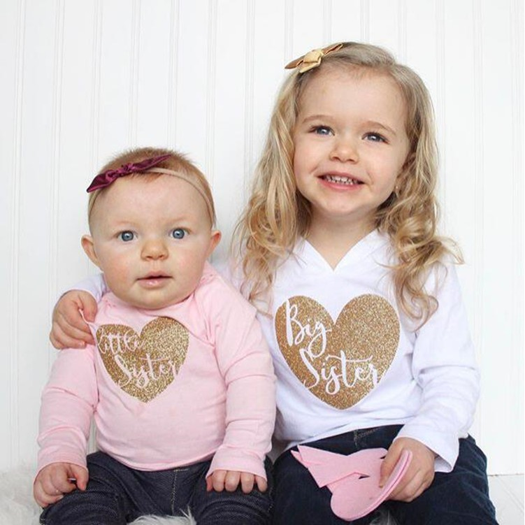 Little Girl Toddler//Kids Long Sleeve T-Shirt I Love My Big Sister This Much