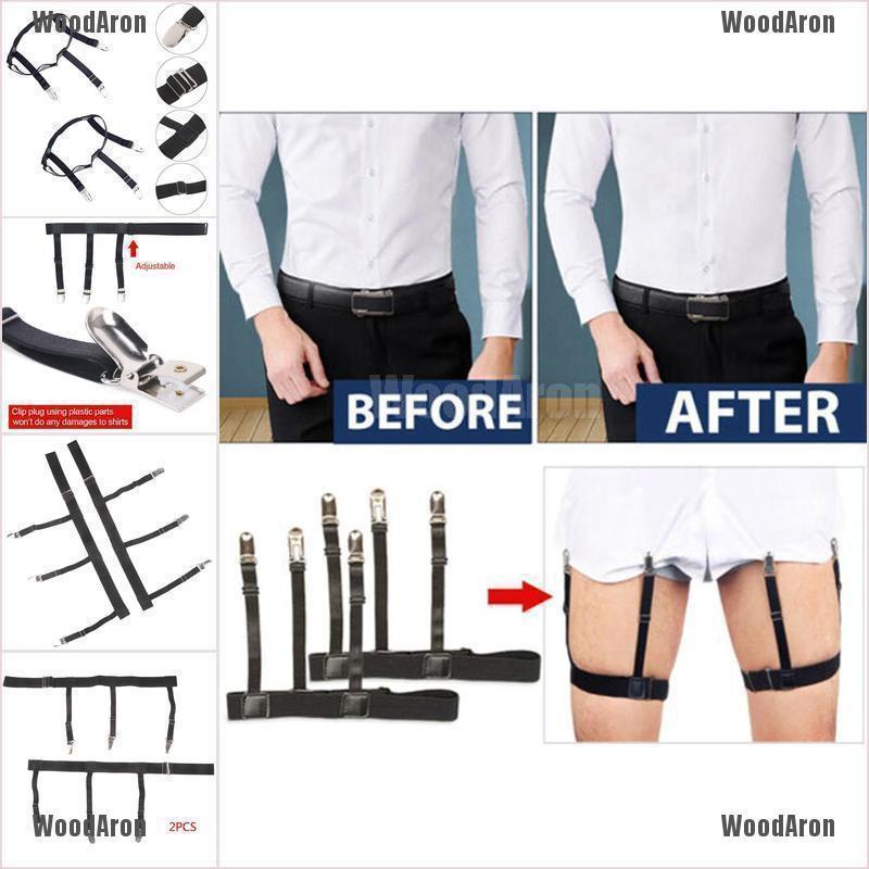 2Pcs Men Non-Slip Locking Clamp Shirt Stay Holder Elastic Belt Clip Garter Black