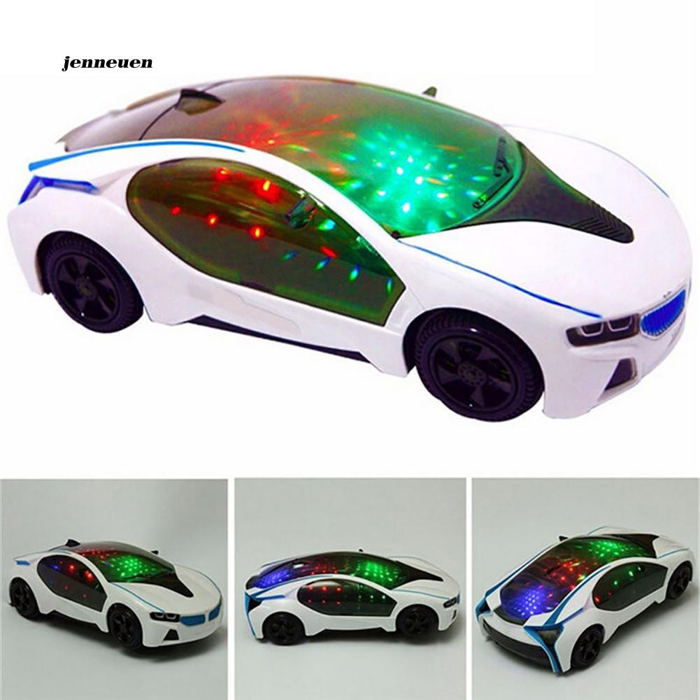 JNUN_3D Supercar Model Electric Toy with Wheel Lights Music Kids Boys Girls  Gift