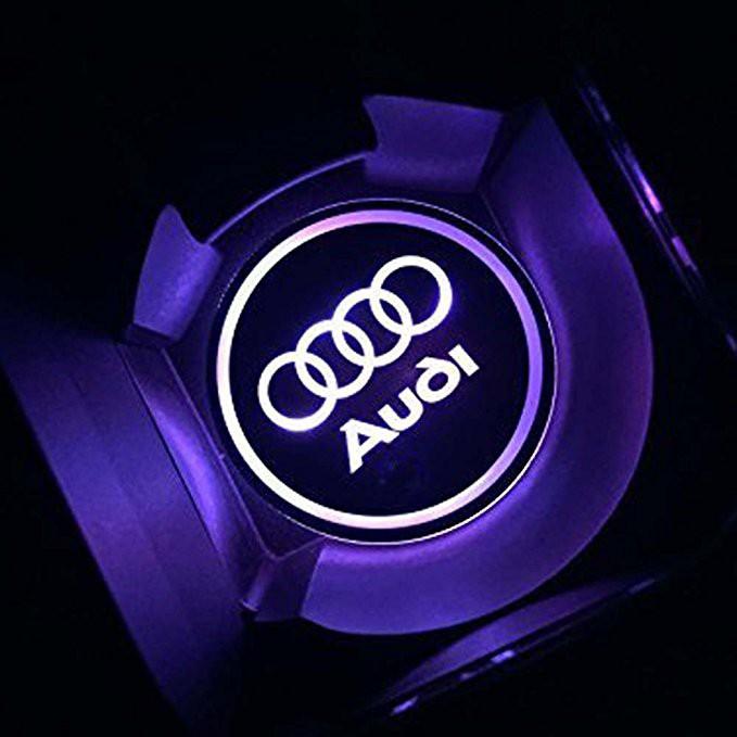 Solar Power LED Flashing Car Cup Holder Pad Mat Auto Interior Light Purple Color