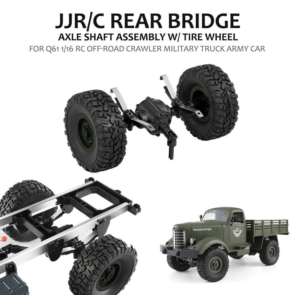 JJR/C Rear Bridge Axle Shaft Assembly w/ Tire Wheel for Q61 1/16 RC Off-road Crawler Military Truck Army Car (Green)