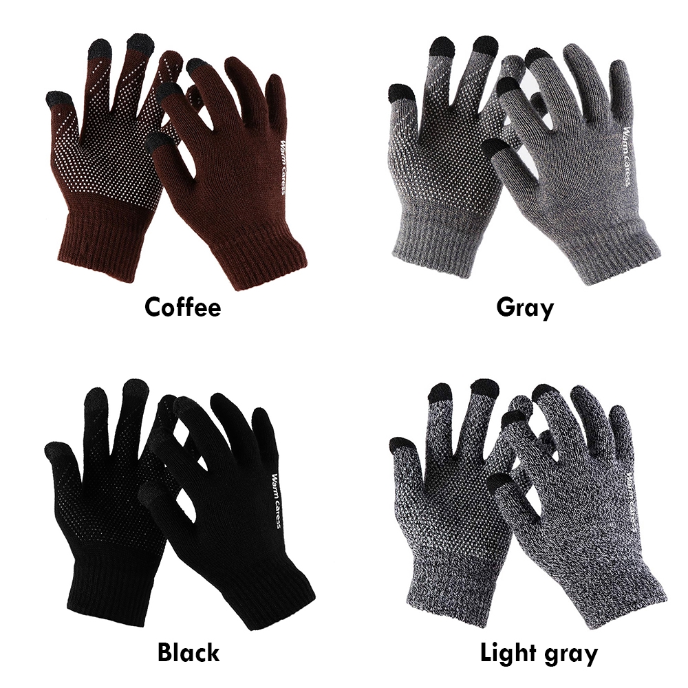 Touch Christmas Gifts Touch Screen Full Finger Mittens Wool Knitted Warm Gloves