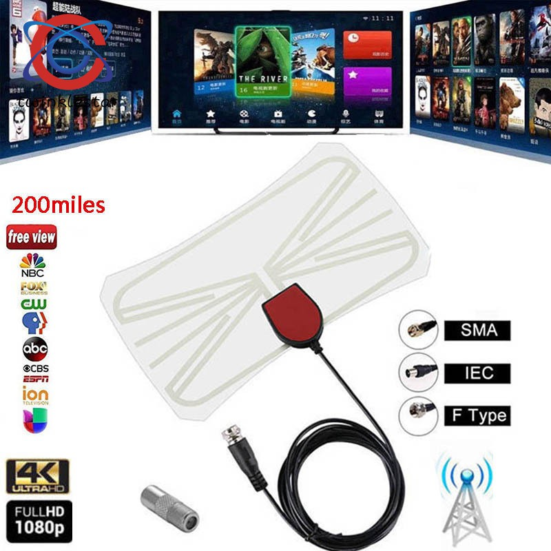 Antenna Digital HD TV Amplified Mile Ultra Thin 200 Miles Range Indoor 1080P
